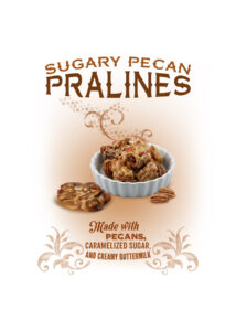 traditional New Orleans sugary pecan pralines isolated on white