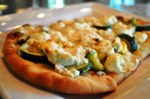 Goat Cheese and Grilled Vegetable Pizzettes