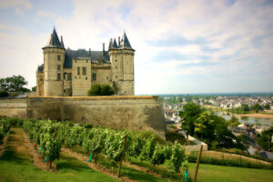 Chateau De Saumur overlooking vineyard and river in Loire Valley