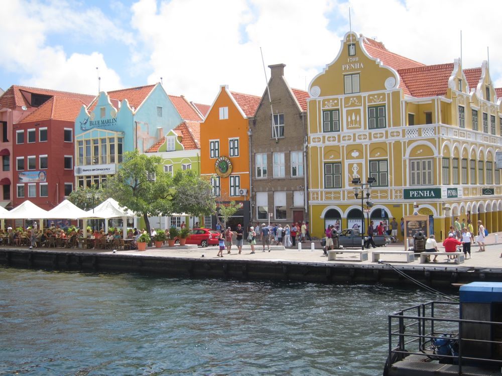 The Dutch-looking buildings on the waterfront in Willemstad