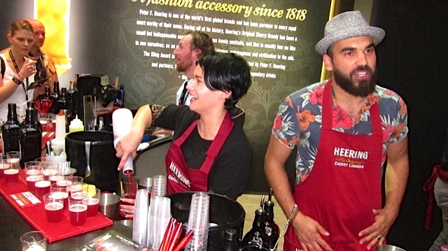 A few of the dynamic Sling contestants, preparing samples of their drinks for the crowd in Berlin