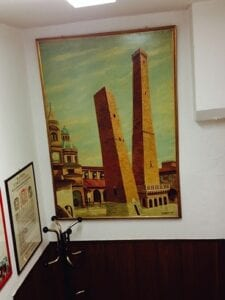 An artist's version of Bologna's famous medieval towers
