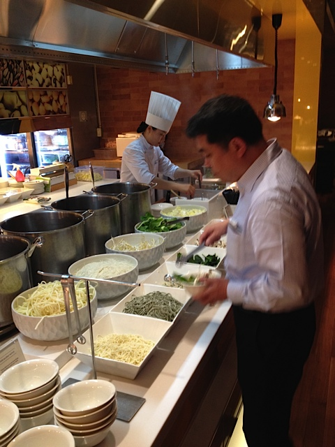 The vast Korean breakfast buffet (this is the noodle section) THIS MORNING!…at the luxury Hotel Lotte in downtown Seoul