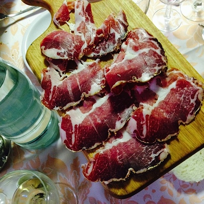 Coppa, or cured pork neck, homemade at a restaurant in the hills near Bologna