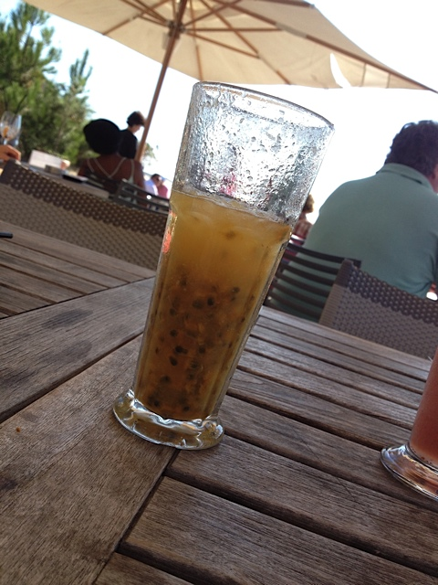 My favorite fruit drink at La Co(o)rniche, the Virgin Maracudja (passion fruit and coconut, very tart and tingly)