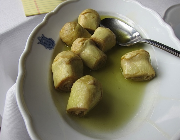 Crunchy, pickled artichoke bottoms at the great mountain restaurant, Taverna del Caldora, in Pacentro