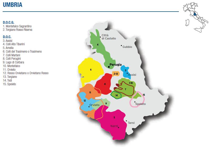 Umbria wine map