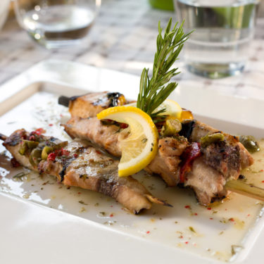 Swordfish fillet grilled with souse lemon and rosemary