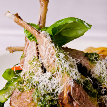 Seared Lamb Chops with Marcona Almond Pesto and Manchego Cheese - Wine4Food