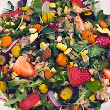 Summer Salad, Arugula, Corn, Carrots, Strawberries, Farro, Almonds, Basil Vinaigrette - Wine4Food