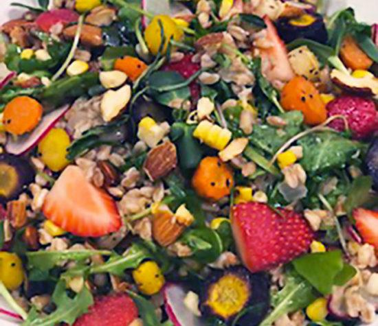 Summer Salad, Arugula, Corn, Carrots, Strawberries, Farro, Almonds, Basil Vinaigrette - Wine4Food